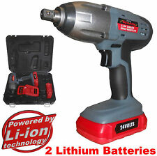 NEW 24 volt Cordless Impact Wrench  2 x LI-ION Batteries & 1 hour Quick charger