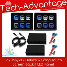 2 X 12V/24V 6 GANG MARINE LED TOUCH PANEL CONTROL C/BREAKER BOAT SWITCH PANELS