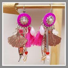 Boucles d'oreilles Lolilota Lol Bijoux rose et argenté avec pompon perle feuille