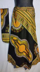African Dashiki Print wrap around Skirt Maxi Vintage 70s Black Free size