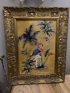 Retro Vintage Style Flamingo Wall Art With Gold Wooden Frame