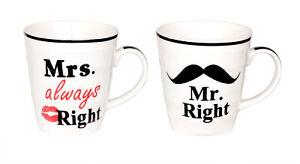 Kaffeebecher Set Mr & Mrs Right Partnertassen Geschenk für Hochzeit Valentinstag