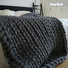 Merino Wool Chunky Knit Blanket Chunky Arm Knit Throw Knitted Blanket Dark Grey