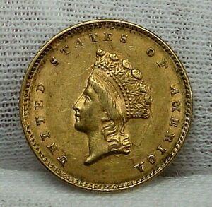 1855 GOLD $1 Dollar INDIAN PRINCESS coin. Type 2.