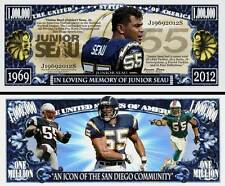 Junior Seau Million Dollar Bill Collectible Fake Play Funny Money Novelty Note