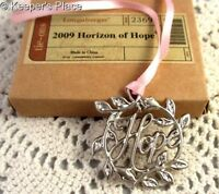Longaberger Horizon Of Hope Basket Tie On 2009 Silver With Pink Ribbon