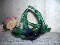 Murano Glass Basket Italy Blue and Green Design