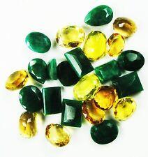 200 Ct/ 25 Pcs Sizzling Natural Mixed Shape Emerald & CItrine Gemstone Lot