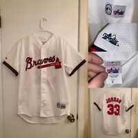 Vintage Atlanta Braves Jersey Mens Size M White Brian Jordan Baseball Majestic
