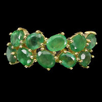 Unheated Oval Emerald 5x4mm 14K Gold Plate 925 Sterling Silver Ring Size 8.5