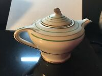 Vintage Green And Brown/gold Striped Tea Pot