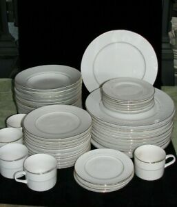 """Gibson Designs """"Claremont Gold"""" White China Place Settings 12 Available"""