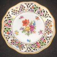 Schumann Empress Dresden Flowers Reticulated Bread Plate Porcelain 5 3/4 Ref 2