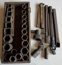 Antique Socket Set Frank Mossberg & other Makers Wrenches Extensions Fittings US