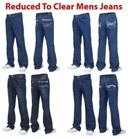 Mens Slim Fit Jeans Bootcut Regular Denim Cotton Trousers Pants All Waist Sizes