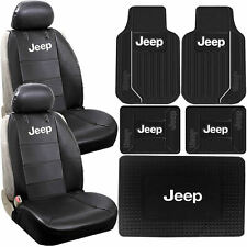 Jeep Elite Sideless Seat Covers Front Rear Cargo Rubber Mats Universal