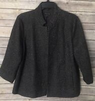 Eileen Fisher Sz M Tweed Wool Blend Notched Collar Blazer Jacket