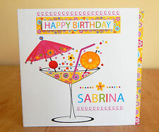 Birthday girl card girl female personalised with name. Special cocktail card