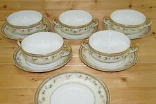 """Haviland Yale Limoges (5) Cream Soup Bowls, 4 5/8"""" & (6) Saucers,6 1/2"""""""