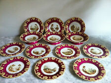 Antique 15-pc Coalport Davenport Topographical Dessert Service--c.1810