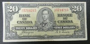 1937 $20 Bank of Canada VF Condition - b