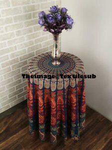 Indian Multi Peacock Round Tapestry Hippie Bohemian Beach Mat Center Table Cloth