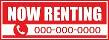 NOW RENTING Vinyl Sign Banner for Real Estate Business Advertising 3' x 8'