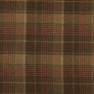 Abraham Moon Huntingtower Cocoa | 100% Wool Tartan Tweed Check Upholstery Fabric