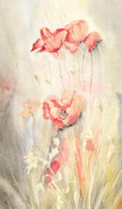 V. Carter - Contemporary Watercolour and Ink, Delicate Study of Poppies