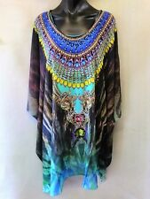 Loose Fitting Sheer Embellished Kaftan Digital Print Size 16-18-20-22-24