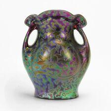 """Weller Pottery Sicard 8.75"""" iridescent luster handled floral vase Arts & Crafts"""