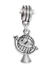 Globe Map Travel World Earth European Dangle Bead for Silver Charm Bracelets