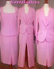 🌸4 Piece Pink Suit Skirt Trousers Top Blazer Jacket UK 10 EU 38 US 6  FAST📮💕