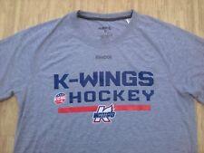 Kalamazoo Wings Hockey Reebok ECHL Athletic Gray Shirt ~ Men's Large L ~ Canucks