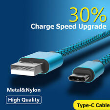 Nylon Braided Rope USB-C Type-C 3.1 Data Sync Charger Charging Cable Cord Blue