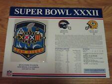 "Super Bowl XXXII DENVER BRONCOS vs GREEN BAY PACKERS  6"" Patch TERRELL DAVIS MVP"