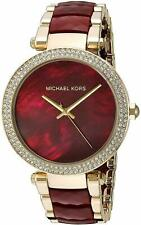 Michael Kors Parker Red Garnet Acetate Crystal Gold Dial Ladies Watch MK6427