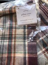 "Pottery Barn Kingston Plaid PILLOW COVER 24"" New Set Of 2"