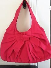 FASHIONABLE Red Pleated Everyday Casual Shoulder Handbag Purse with Bow