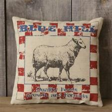 "Primitive Rustic Country Blue Hill Sheep Feed 16"" x 16"" Advertising Pillow New"