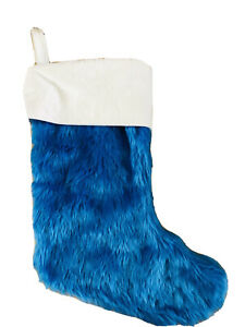 18 In Blue White Faux Fur Christmas Stocking