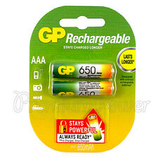 2 x GP Rechargeable AAA batteries 650mAh NiMH LR03 DX2400 Phone DTC Pack of 2