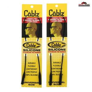 Cablz Silicone Eyewear Retainer ~ Waterproof 16 in (Black) ~ 2 Pack