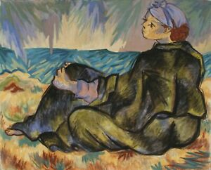 Laurent Marcel Salinas, Untitled - Woman on the Beach in Blanket, Oil on Canvas