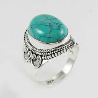 Solid 925 Sterling Silver Turquoise Gemstone handmade ring Jewelry for Womens N2