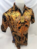 Mens PREMIERE Short Sleeve Button Down Dress Shirt BLACK GOLD LEAF MEDUSA HEAD 2