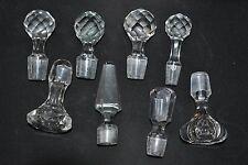 Lot de 8 bouchons anciens en cristal pour carafe ou flacon
