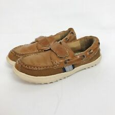 Cole Haan Kids Size 11 Boys Brown Slip On Loafers Boat Shoes Hook and Loop