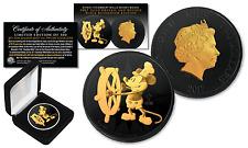 2017 NZM Niue 1oz 999 Silver BU Mickey DISNEY BLACK RUTHENIUM & 24KT Gold Select