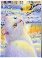 ACEO GORGEOUS WHITE CAT CHICKADEE BIRD SNOW WINTER GOLD STREAM NATURE ART PRINT